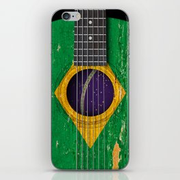 Old Vintage Acoustic Guitar with Brazilian Flag iPhone Skin