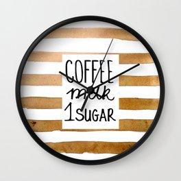 Coffee milk 1 sugar Wall Clock
