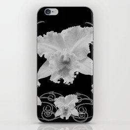 WHITE CATTLEYA ORCHIDS IN BLACK & WHITE ART iPhone Skin