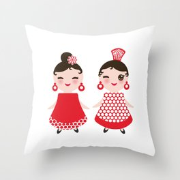 Spanish Woman flamenco dancer. Kawaii cute face with pink cheeks and winking eyes. Gipsy girl Throw Pillow
