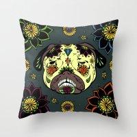 calavera Throw Pillows featuring Calavera Paxicana by Huebucket