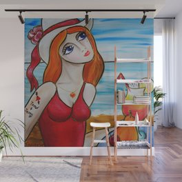 Portrait of a burlesque ginger girl with cocktail painting by Ksavera Wall Mural