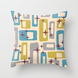 Retro Mid Century Modern Abstract Pattern 924 Turquoise Gray Olive Throw Pillow