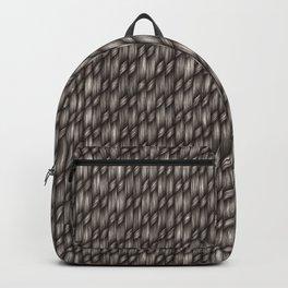 Grey Cross Weave Texture Backpack