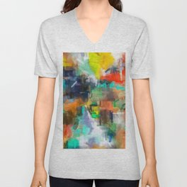 splash brush painting texture abstract background in brown orange blue yellow Unisex V-Neck