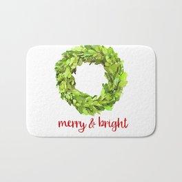 Merry & Bright Christmas Boxwood Wreath Bath Mat