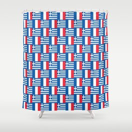 Mix of flag : France and greece Shower Curtain