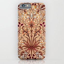William Morris Hyacinth Print, Coffee Brown and Beige iPhone Case