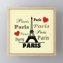 Paris text design illustration 2 Framed Mini Art Print