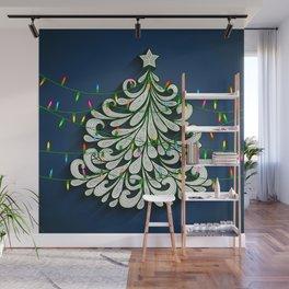 Christmas tree with colorful lights Wall Mural