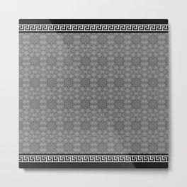 Greek Key - 2 Grey Metal Print