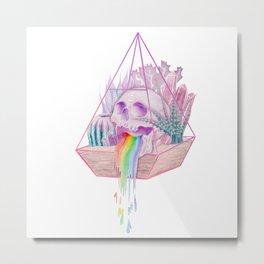 Rainbow Skull Succulent Crystal Garden Metal Print