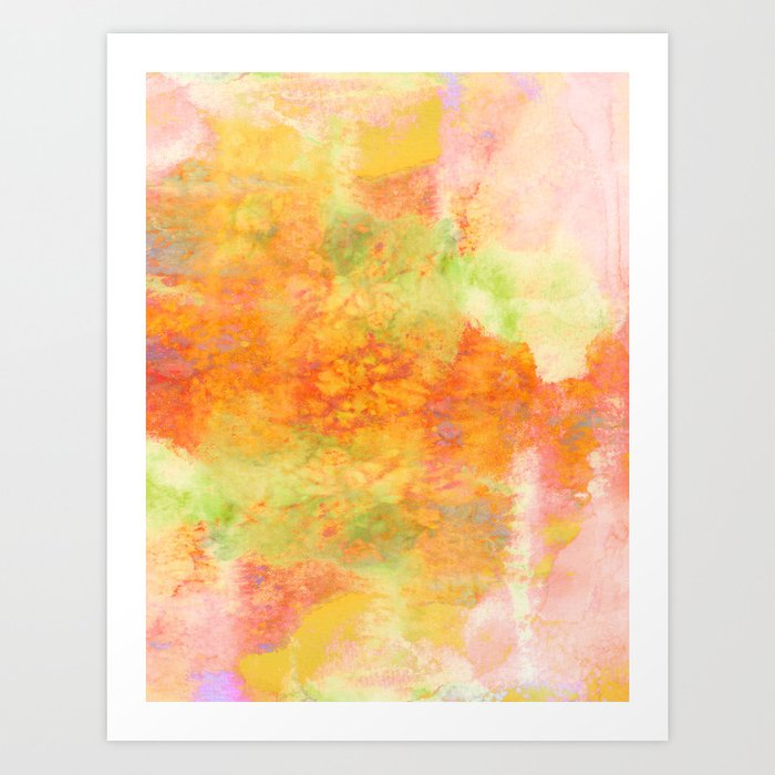 Pastel Imaginings 3 Colorful Pretty Spring Summer Orange Yellow Peach Abstract Watercolor Painting Art Print By Ebiemporium