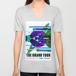 NASA Space Saturn Shuttle Retro Futuristic Explorer Blue Unisex V-Neck