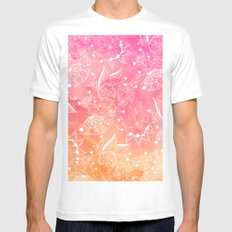 Modern summer white floral mandala illustration on pink orange sunset watercolor Mens Fitted Tee MEDIUM White