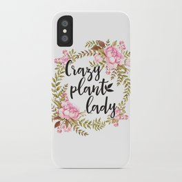 Crazy Plant Lady - Floral wreath Botanical iPhone Case