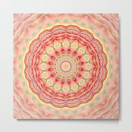 Mandala Tequila Sunrise -- Kaleidoscope of Vibrant Sunny Colors Metal Print