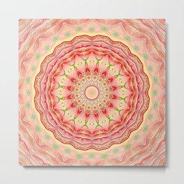 Mandala Tequila Sunrise -- Kaleidoscope of Vibrant Sunny Colors Metal Print