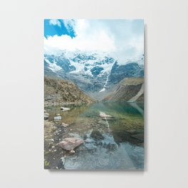 Perfection   Nature Landscape Photography of Still Blue Lake with Snowy Mountains in Peru Metal Print