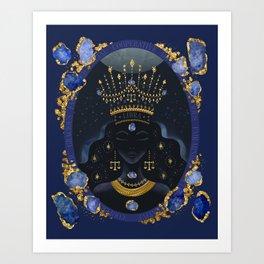 Libra Zodiac Queen | September Birthday | Sapphire Birthstone Art Print
