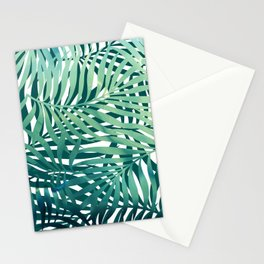 Tropical Palm Leaves, Blue and Green Stationery Cards
