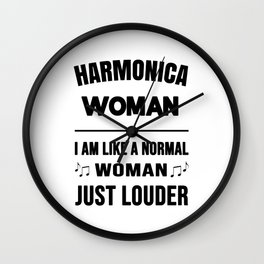 Harmonica Woman Like A Normal Woman Just Louder Wall Clock