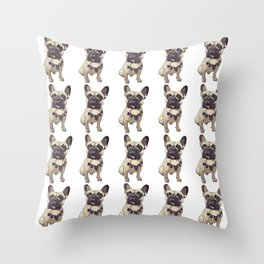 F is for French Bulldog Throw Pillow