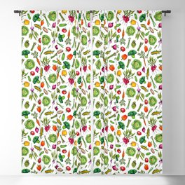 Vegetable Garden - Summer Pattern With Colorful Veggies Blackout Curtain