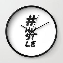 Hashtag hustle / minimalist design / typography Wall Clock