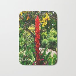 Alpinia purpurata – Red Ginger Flower, Nature in Bogota, Colombia Bath Mat