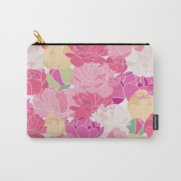 Bunch of Colorful Peonies Flowers Pattern Carry-All Pouch