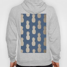 Gold Pineapples on Aegean Blue Hoody