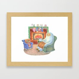 A Cozy Winter Night Framed Art Print