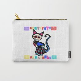 Pop Surrealist Sugar Skull Cat Carry-All Pouch