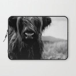 Scottish Highland Cattle Baby - Black and White Animal Photography Laptop Sleeve