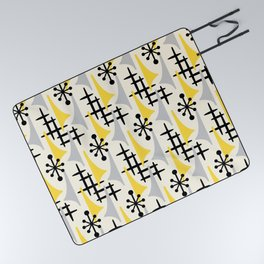 Mid Century Modern Atomic Wing Composition Yellow & Grey Picnic Blanket