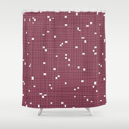Red Plum and White Grid - Missing Pieces Shower Curtain