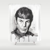 spock Shower Curtains featuring Spock Watercolor Portrait by Olechka