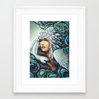 swan Framed Art Prints featuring Swan by Bea González