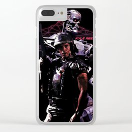 Kyle Reese Revenge Aliens Terminator 80s synthwave Clear iPhone Case