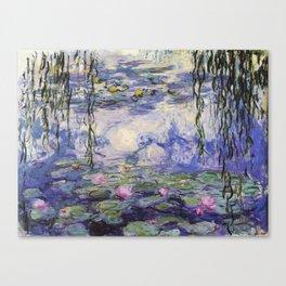 1917 Water Lilies oil on canvas. Claude Monet. Vintage fine art. Canvas Print