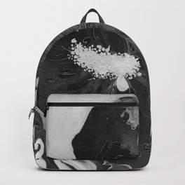 Black and White of Birthday Acrylic Blue Orange Hibiscus Flower Painting with Red and Green Leaves Backpack