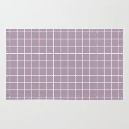 Lilac Luster - violet color -  White Lines Grid Pattern Rug