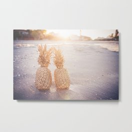 Golden Pineapples Metal Print