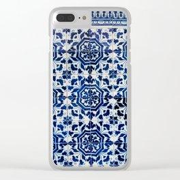 Cobalt Flourish Clear iPhone Case