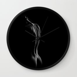 A Study of the Female Form, Nude black and white photograph Wall Clock
