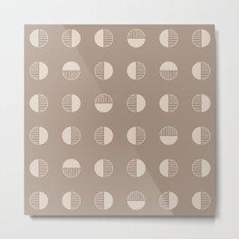 Retro Boho Geometric - Tan Metal Print