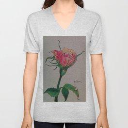rose, botanical, botanical art, pink, pink rose, Yokohama Unisex V-Neck
