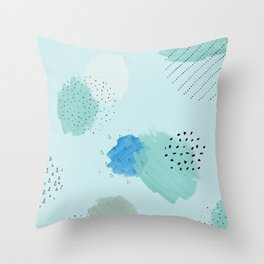 Abtract paint in light blue Throw Pillow