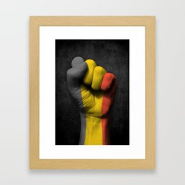 Belgian Flag on a Raised Clenched Fist Framed Art Print